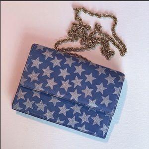 J. Crew Bags - J. Crew   100% Leather blue crossbody shimmer star